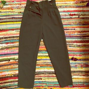 H&M high rise-ankle crop work pants-green-4-New